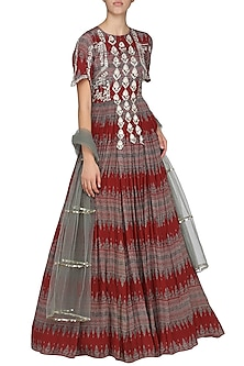 Red Geometrical Printed Anarkali with Sea Green Dupatta by Bhumika Sharma