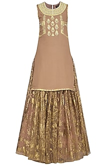 Nude Embroidered Kurta with Skirt and Dupatta