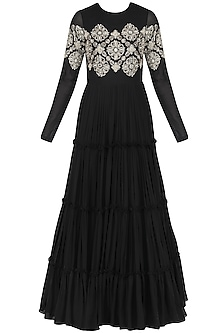 Black Gathered Anarkali with Dupatta