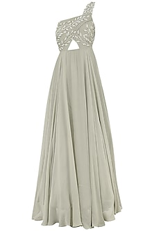 Grey Embroidered One Shoulder Gown