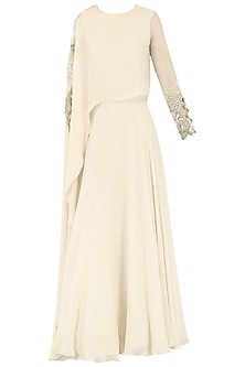 Ivory Embroidered Cape Anarkali Gown