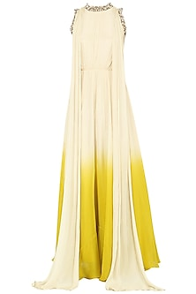 Ivory To Yellow Ombre Embroidered Anarkali Gown