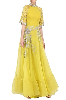 Yellow Embroidered Anarkali Gown by Bhumika Sharma