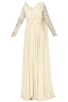 Ivory Embroidered Pleated Saree with Bodysuit