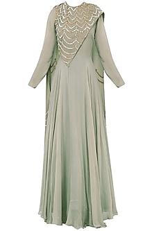 Grey Embroidered Anarkali Gown