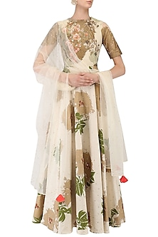 Ivory Foil Print and Peach Threadwork Anarkali Set by Bhumika Sharma