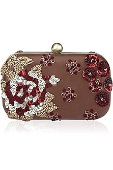 Tan and Red Sequins Embroidered Box Clutch by Bhumika Sharma