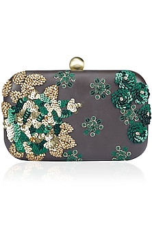 Brown and Green Sequins Embroidered Box Clutch by Bhumika Sharma