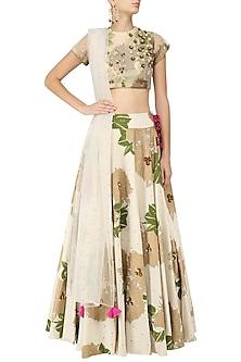 Ivory Foil Print and Floral Sequinned Lehenga Set by Bhumika Sharma