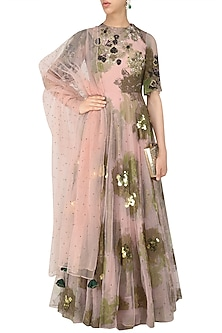 Pink Foil Print and Purple Sequinned Floral Work Anarkali by Bhumika Sharma