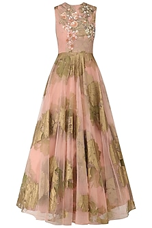 Pink Foil Print and Floral Embroidered Anarkali