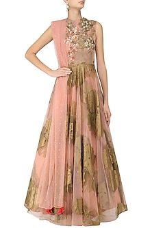 Pink Foil Print and Floral Embroidered Anarkali by Bhumika Sharma