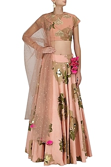 Peach Floral Print and Gold Cluster Embroidered Lehenga Set by Bhumika Sharma