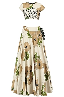 Ivory and Green Floral Bunch Embroidered Lehenga Set by Bhumika Sharma