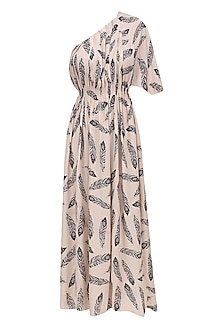 Beige Feather Print One Shoulder Dress