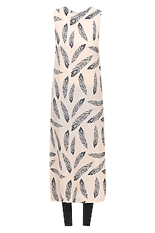 Beige Feather Print Long Fitted Kurta