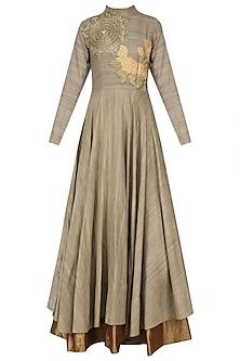 Jade Floral Thread and Dabka Embroidered Underlay Gown by Bhumika Sharma
