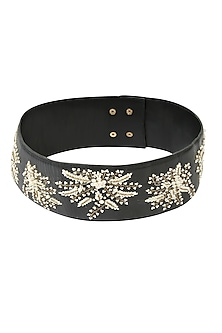 Black Ornate Floral Embroidered Leather Belt by Bhumika Sharma