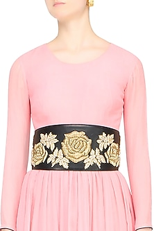 Black Rosette Motif Embroidered Leather Belt