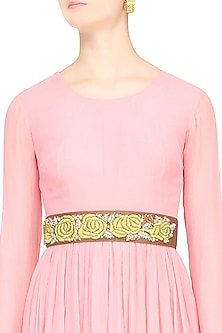 Tan Rosette Dori Embroidered Thin Leather Belt