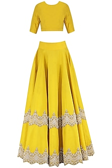 Yellow Scallop Embroidered Lehenga Set