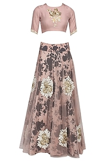 Pale pink and black rose printed flared lehenga set with pale pink blouse by Bhumika Sharma