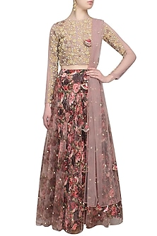 Lilac and red rose printed flared lehenga set with lilac blouse by Bhumika Sharma
