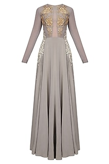 Grey Rosette Motifs Dabka And Pearl Embroidered Evening Gown