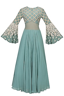 Autumn Pearl Embroidered Flared Sleeves Gown by Bhumika Sharma