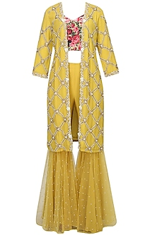 Mustard Yellow Pearl Embroidered Jacket With Black Rose Printed Blouse And Sequinned Gharara Pants