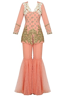 Pink Pearl And Gota Thread Work Jacket With Pink Sequinned Gharara Pants