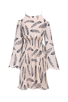 Beige Feather Print Cold Shoulder Short Dress by Bhumika Sharma