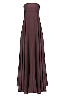 Wine Linen Tube Dress