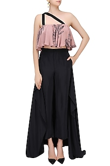 Pink and Black Feather Print Double Strap Flared Top by Bhumika Sharma