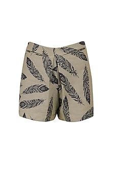 Feather Print Shorts by Bhumika Sharma
