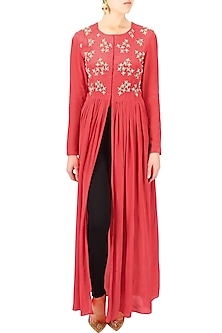 Red floral embroidered motifs front open cape by Bhumika Sharma
