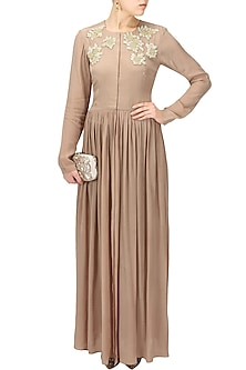 Nude embroidered rose motifs front open cape by Bhumika Sharma