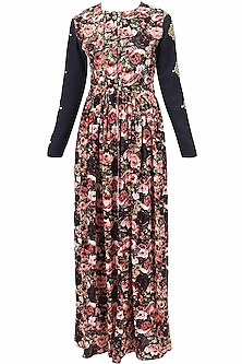 Navy blue floral printed and embroidered rose motifs front open cape