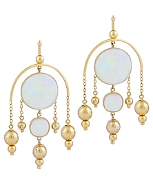 Gold Plated Fused Glass Cabochons Stone Chandelier Earrings by IKROOP