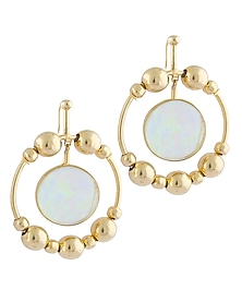 Gold Plated Fused Glass Cabochons Stone Solar Earrings by IKROOP