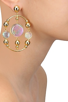 Gold Plated Fused Glass Cabochons Stone Garland Earrings by IKROOP