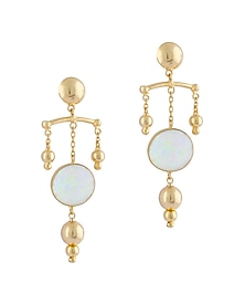 Gold Plated Fused Glass Cabochons Stone Spear Earrings by IKROOP