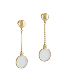 Gold Plated Fused Glass Cabochons Stone Earrings by IKROOP
