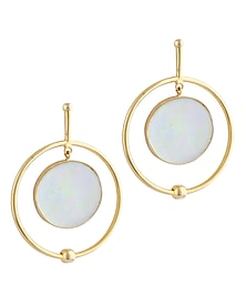 Gold Plated Fused Glass Cabochons Stone Orbit Earrings by IKROOP