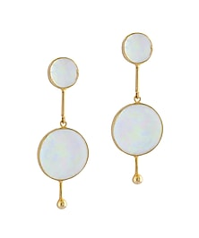 Gold Plated Fused Glass Cabochons Stone Neutron Earrings by IKROOP