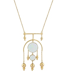 Gold Plated Fused Glass Cabochons Stone Chandelier Pendant Necklace by IKROOP