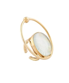 Gold Plated Fused Glass Cabochons Stone Orbit Ring by IKROOP