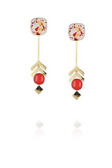 Gold plated orange and white with specs glass cabochon earrings by IKROOP