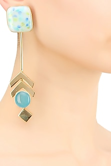 Gold plated blue and white with specs glass cabochon earrings by IKROOP