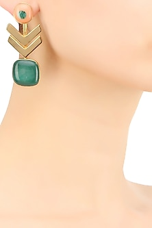 Gold plated green glass cabochon with specs arrow earrings